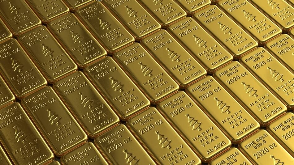 A bunch of bars with gold puns printed on them
